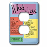 3dRose TNMGraphics Scripture - What Is Love Scripture Corinthians 13 - Light Switch Covers - 2 plug outlet cover (lsp_286318_6)