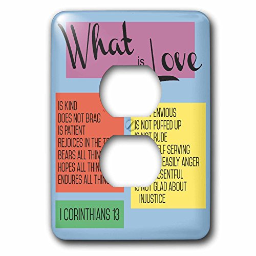 3dRose TNMGraphics Scripture - What Is Love Scripture Corinthians 13 - Light Switch Covers - 2 plug outlet cover (lsp_286318_6) by 3dRose