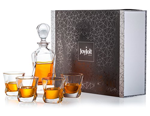 JoyJolt Aurora 5-Piece Crystal Whiskey Decanter Set,100% Lead-Free Crystal Bar Set, Crystal Decanter Set Comes With A Scotch Decanter-25.3 Ounces And A Set Of 4 Old Fashioned Whiskey Glasses-8.10oz -