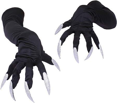 Guantes de Halloween, Puntales largos para guantes de uñas, Color: Negro, Tamaño: 50 cm, Material: T