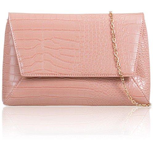 Xardi London, borsetta da sera da donna, taglia media, stile vintage, in finto coccodrillo motivo geometrico Blush
