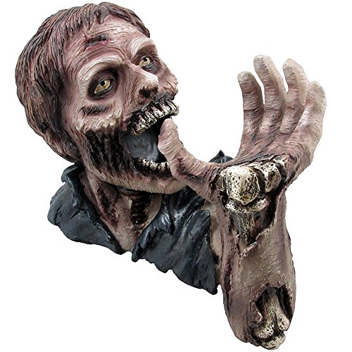1 X Decorative Graveyard Zombie Wine Bottle Holder Statue for Scary Halloween Party Decorations, Medieval & Gothic Sculptures As Ghoulish Bar Display Racks & Stands Decor or Funny Whimsical Gifts