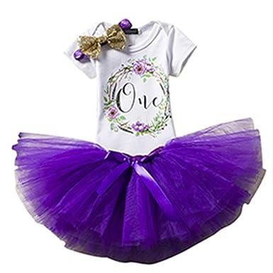 ba40a0acf1dfc Puseky 3pcs   Set bébés bébés Filles 1er Anniversaire Guirlande Imprimer  Barboteuse + Jupe Tutu Maille + Paillettes Bandeau Tenues (Color   Purple
