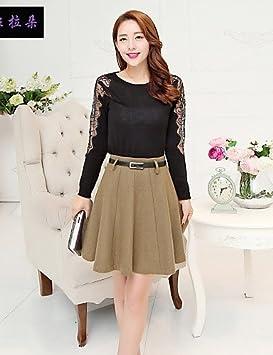 YY Mujer Solid Negro/Camel/Gray faldas, vintage/Casual/rodilla de ...