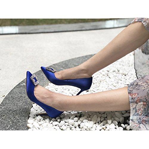 Centimetri Eks Suola Delle Pompe Donne Kricoa Tallone 7 Piena Blue Alta Raso Di SSnHWBwq7