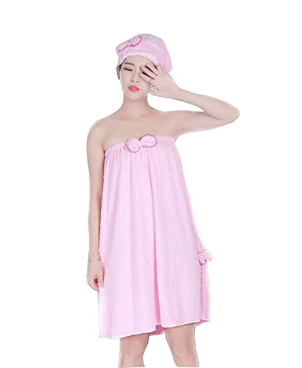 198762929b Image Unavailable. Image not available for. Color  Women Absorbent Coral  Velvet Microfiber Shower Spa Body Wrap Bath Towel With Bow Headband