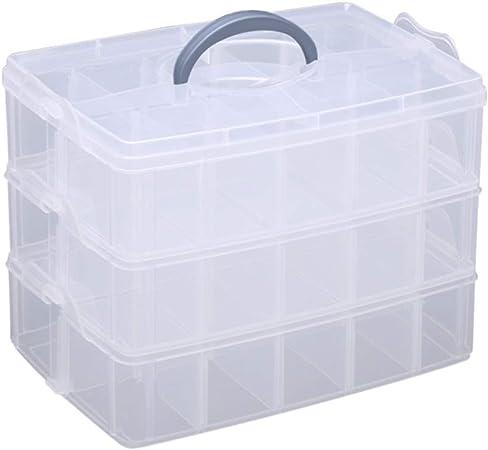 Hantier 3 Niveles Caja de Almacenamiento de Plástico Transparente Y apilable de la Ranura Del Compartimiento Apilable, Snap-lock Clear Container Box: Amazon.es: Hogar