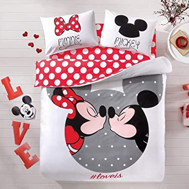 Mickey & Minnie Mouse Bedding Duvet Cover Set 100% Cotton New Licensed / Disney Mickey Mouse Double Size Duvet Cover Set 4 PCS