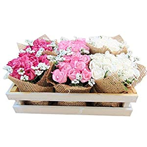 Roses Tray Artificial Flowers in Wooden Crate 9 1/2 Inches Long 2
