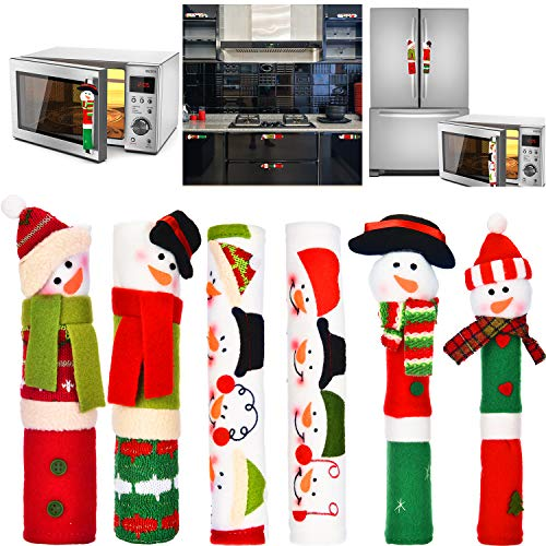 Tatuo 6 Pieces Christmas Snowman Handle Covers Christmas Appliance Decorations Handle Covers for Kitchen Refrigerator Microwave Oven, Assorted Styles