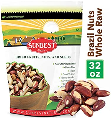 SUNBEST Whole, Raw, Shelled Brazil Nuts in Resealable Bag ... (2 Lb)