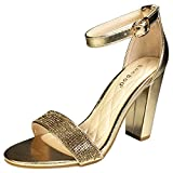 BAMBOO Women's Single Band Chunky Heel Sandal with Ankle Strap, Gold PU with Rhinestones, 9.0 B US