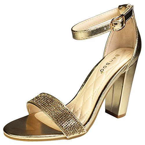 Chunky Rhinestones Sandal Ankle Pu Strap Bamboo Band Heel Gold Women's With Single RHq1SH