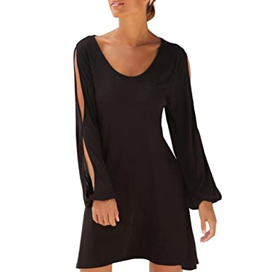 Vicbovo Clearance Sale Womens Casual Loose Long Sleeve Cutout Cold