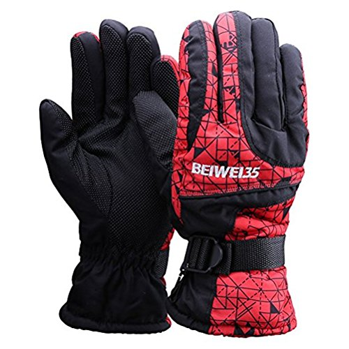 Ski Gloves Waterproof Windproof For Men,Women,Boys,girls Winter Outdoor Sports Warm Couple Snowboard Gloves for Snow Skiing,Mountain Biking,Road Racing,Motorcycle Riding with Adjustable Cuffs (Red)
