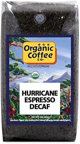 The Organic Coffee Co., DECAF Hurricane Espresso- Whole Bean, 2-Pound (32 oz.) Swiss Water Process- Decaffeinated, USDA Organic