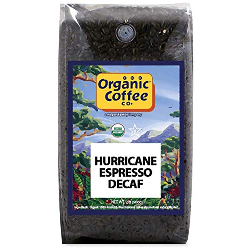The Organic Coffee Co., DECAF Hurricane Espresso- Whole Bean, 2-Pound (32 oz.) Swiss Water Process- Decaffeinated, USDA Organic
