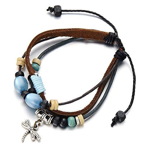Multi strand Dragonfly Bracelet Leather Wristband
