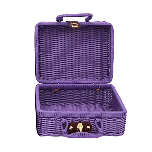 Rattan Vintage (super1798 Vintage Rattan Woven Storage Basket Makeup Holder Cube Suitcase Sundries Organizer Box Purple M)