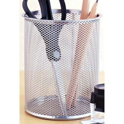 Design Ideas 342049-DI Mesh Desk Organizer Pencil Cup Holder , Silver, Medium, 5.5