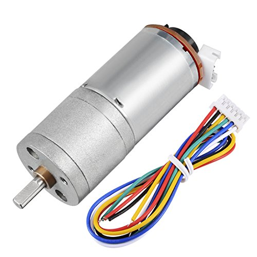 uxcell Gear motor with Encoder DC 12V 126RPM Gear Ratio 34:1 D Shaft Metal Encoder Gear Motor Silver 25Dx51L mm for Robot RC Car Model DIY Engine Toy