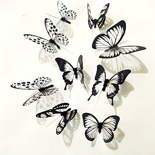 36 Pcs 3D Black White Butterfly Sticker Art Wall Decal Mural Home Wall Decoration (Black White, 3022mm) ()