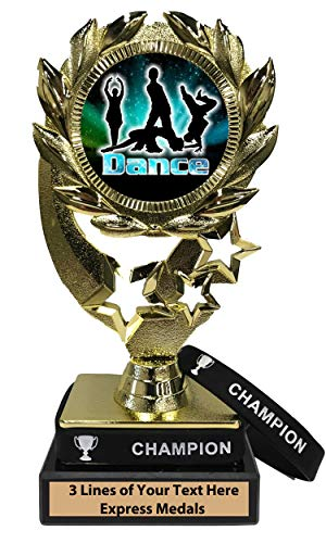 Express Medals Modern Dance Trophy with Removable Wearable Champion Wrist Band Marble Base and Personalized Engraved Plate]()