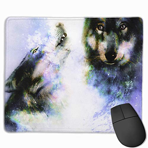 Magical Space Wolf Quality Comfortable Game Base Mouse Pad with Stitched Edges Size 11.81 9.84 Inch]()