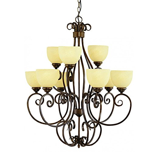 Transglobe Lighting 7218 ROB Chandelier with Cream Glass Shades, Rubbed Oil Bronze Finished