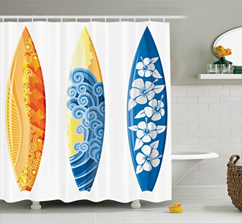 Surf Decor Shower Curtain Set By Ambesonne, Ornate Colorful Surfboards Vocation Fun Water Sports Moving Waves Lifestyle Art, Bathroom Accessories, 69W X 70L Inches, Blue Orange Yellow