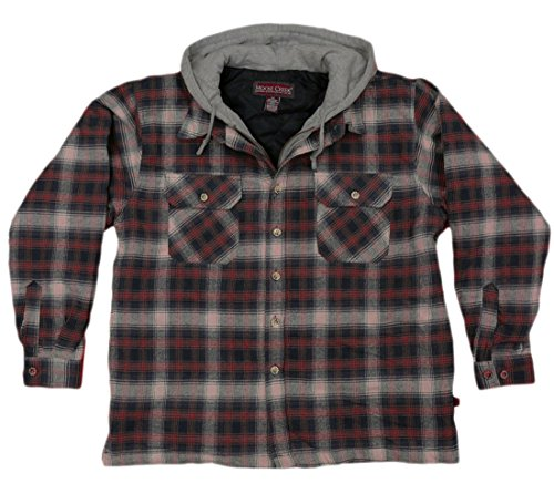 Moose Creek Men's Plaid Flannel Heavyweight Hooded Shirt Jacket (Large, Brick)