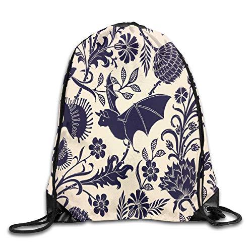 Art-Capital Drawstring Backpack Halloween Bat Black Flower Shoulder Bag Bundle Canvas Backpack Tote Sports Bag -