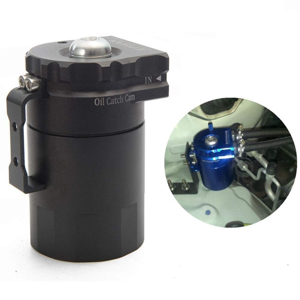 Universal Aluminum Engine Oil Catch Can Baffled Reservoir Tank Air Oil Separator with Breather Filter