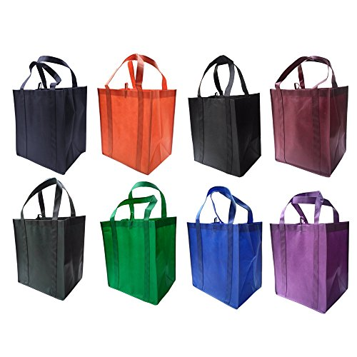 LIHI Bag Large & Heavy Duty Reusable Nonwoven Fabric Grocery Shopping Tote Bag With Hanging Loop & Removable Wrapped Bottom Insert and Reinforced Handles For Strength (8 Pack, (Large Reusable Shopping Bags)