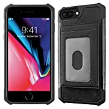 AMOMCK iPhone 8 Plus Case, iPhone 8 Plus Wallet Case, Premium PU Leather with Card Holder Slots [Detachable Credit card set] Case for 5.5'' iPhone 6 Plus/iPhone 7 Plus/iPhone 8 Plus (Black)