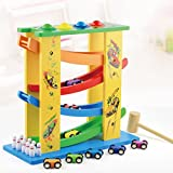 Wooden Ramp Race Track Vehicle Playsets for Toddler with 8 Mini Racers,4 balls,10 bowling balls,1 Wooden hammer
