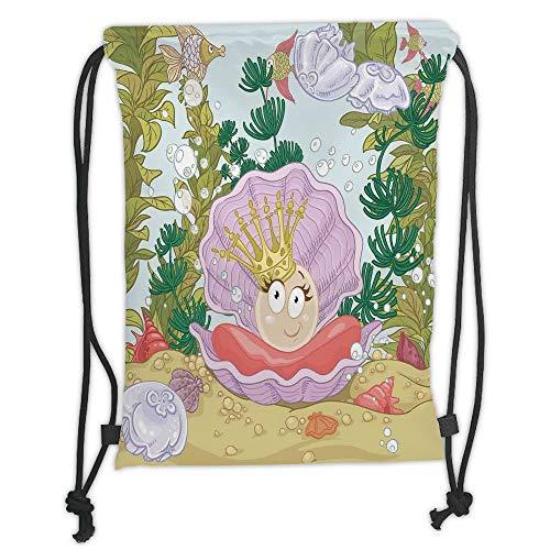 New Fashion Gym Drawstring Backpacks Bags,Pearls,Cute Princess Pearl in Clam with Crown Tiara Reef Cartoon Print Baby Girl Nursery Print,Multi Soft Satin,Adjustable String Closure