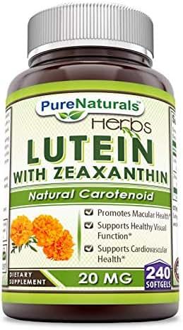 Pure Naturals Lutein, 20 mg, 240 Softgels