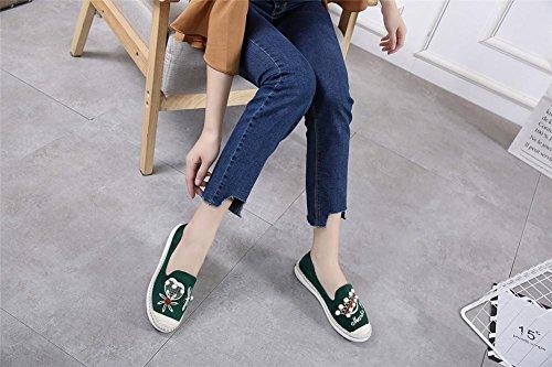 YEEY Zapatos de tacón plano de las mujeres ronda de los talones de tacón bajo casual plantform cadena de los granos de primavera y verano Green