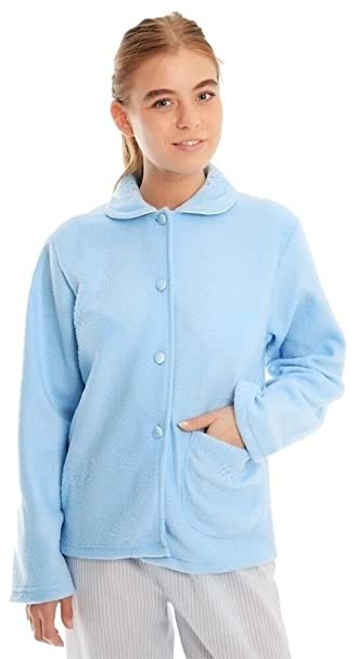 Ladies Lady Olga Soft Fleece Warm Traditional Button Bed Jacket Nightwear Gown