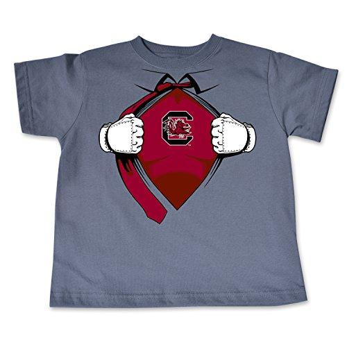 NCAA South Carolina Fighting Gamecocks Toddler Short Sleeve Super Hero Tee, 5/6 Toddler, Pewter