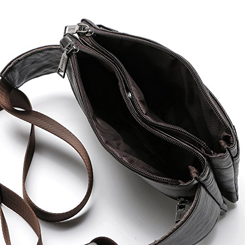 Head Schicht Rindsleder Herren Taille Bag, Multifunktionstasche Real Skin Stecker Brust-Tasche Multi Reißverschluss BALCK