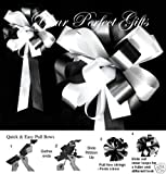 10 BLACK WHITE WEDDING LARGE PEW BOW BRIDAL CHURCH CAKE