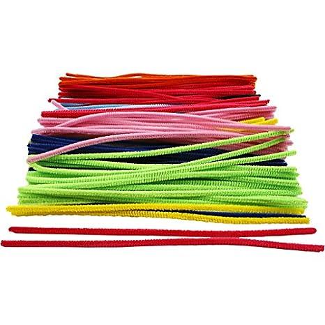 Lot de 196 Fils Chenille//Cure-Pipes pour Loisirs cr/éatifs Artisanat Art Couleurs Assorties longyisound Tuyaux Craft Cleaners 6 x 30cm Chenille Tiges