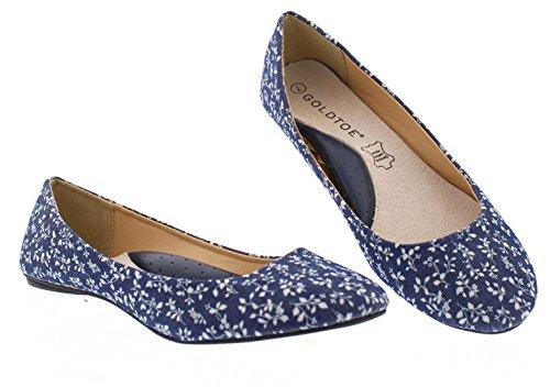 Marilou Womens Floral Print Flats Shoe,Cute Round Pointed Toe Ballet Dress Flat Ballerina Shoes for Women Denim 8 US