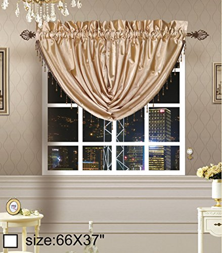 Octorose Royalty Custom Waterfall Window Valance Swags & Tails (Gold, swag(66x37