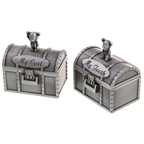 MonkeyJack My First Tooth & Curl Silver Trinket Box Set Keepsake Baby Shower Boy Girl Gift - Antique Silver, 1 ()