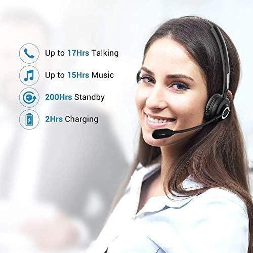 Bureau Casque T/él/éphonique Professionnel pour Smartphone Tablette ESHOWEE Casque Bluetooth avec Micro sans Fil Casque T/él/éphone Fixe Monaural avec Micro Anti-Bruit /& Base de Charge Portable