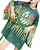 Beloved Women's Autumn Long Sleeves Lace Up Bandage Straps Letter Printing Hip Hop Plus Size Mini Dress Green OS