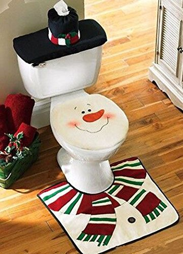 New Snowman Toilet Seat Cover and Rug Set for Bathroom Set of 4